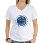 Stop Global Warming Ecology Women's V-Neck T-Shirt