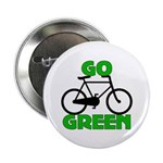 "Go Green Bicycle Ecology 2.25"" Button (10 pack)"