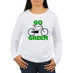 Go Green Bicycle Ecology Women's Long Sleeve T-Shi