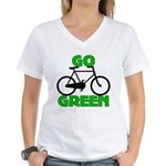 Go Green Bicycle Ecology Women's V-Neck T-Shirt