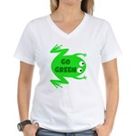 Go Green Frog Ecology Women's V-Neck T-Shirt