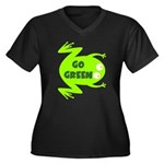 Go Green Frog Ecology Women's Plus Size V-Neck Dar