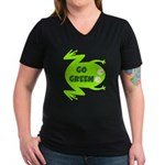 Go Green Frog Ecology Women's V-Neck Dark T-Shirt