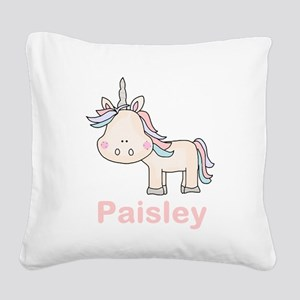 Paisley's Little Unicorn Square Canvas Pillow