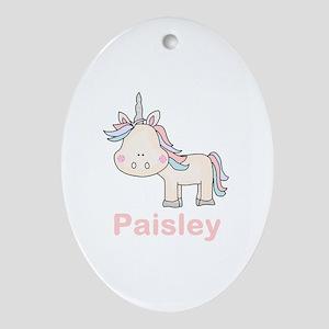Paisley's Little Unicorn Oval Ornament