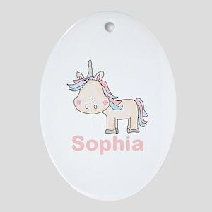 Sophia's Little Unicorn Oval Ornament