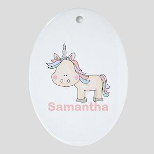 Samantha's Little Unicorn Oval Ornament