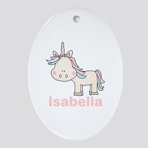 Isabella's Little Unicorn Oval Ornament