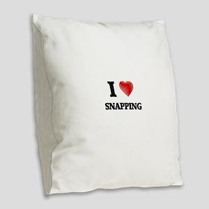 I Love Snapping Burlap Throw Pillow