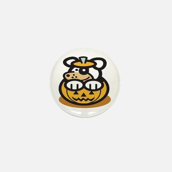 Cute Dog in Pumpkin Mini Button (100 pack)