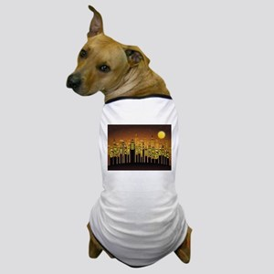 Abstract Night Cityscape Dog T-Shirt