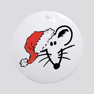 Santa Hat Rat Face Ornament (Round)