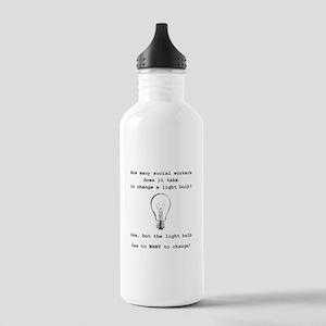 Social Work Light Bulb Joke Water Bottle