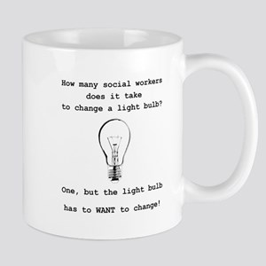 Social Work Light Bulb Joke Mugs