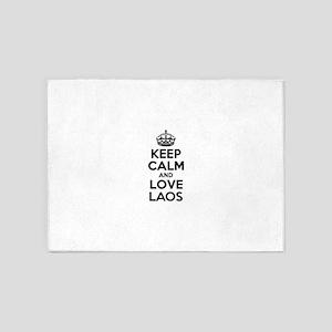 Keep Calm and Love LAOS 5'x7'Area Rug