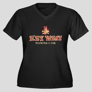 Key West Pir Women's Plus Size V-Neck Dark T-Shirt