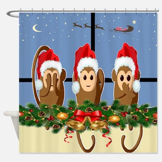 Night before Christmas Monkeys Shower Curtain