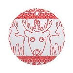 chritmas deer gifts red white Round Ornament
