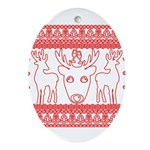 chritmas deer gifts red white Oval Ornament