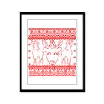 chritmas deer gifts red white Framed Panel Print