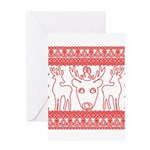 chritmas deer gifts red white Greeting Cards