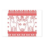 chritmas deer gifts red white Postcards (Package o