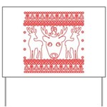 chritmas deer gifts red white Yard Sign