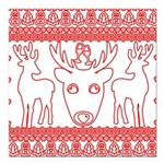 chritmas deer gifts red white Square Car Magnet 3