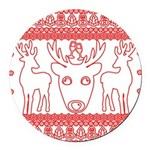 chritmas deer gifts red white Round Car Magnet