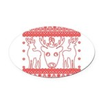 chritmas deer gifts red white Oval Car Magnet