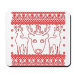 chritmas deer gifts red white Mousepad