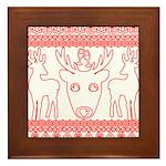 chritmas deer gifts red white Framed Tile