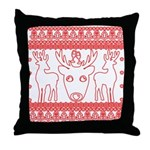 chritmas deer gifts red white Throw Pillow