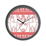 chritmas deer gifts red white Wall Clock