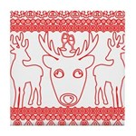 chritmas deer gifts red white Tile Coaster