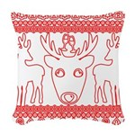 chritmas deer gifts red white Woven Throw Pillow