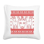 chritmas deer gifts red white Square Canvas Pillow