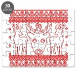 chritmas deer gifts red white Puzzle