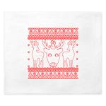 chritmas deer gifts red white King Duvet