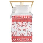 chritmas deer gifts red white Twin Duvet Cover