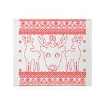 chritmas deer gifts red white Throw Blanket