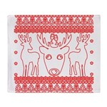 chritmas deer gifts red white Throw Blanket