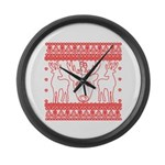chritmas deer gifts red white Large Wall Clock