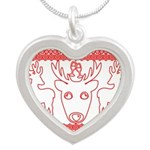 chritmas deer gifts red white Necklaces