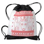 chritmas deer gifts red white Drawstring Bag