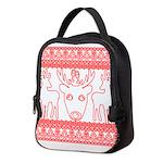 chritmas deer gifts red white Neoprene Lunch Bag