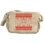 chritmas deer gifts red white Messenger Bag