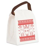 chritmas deer gifts red white Canvas Lunch Bag