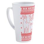 chritmas deer gifts red white 17 oz Latte Mug