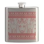 chritmas deer gifts red white Flask